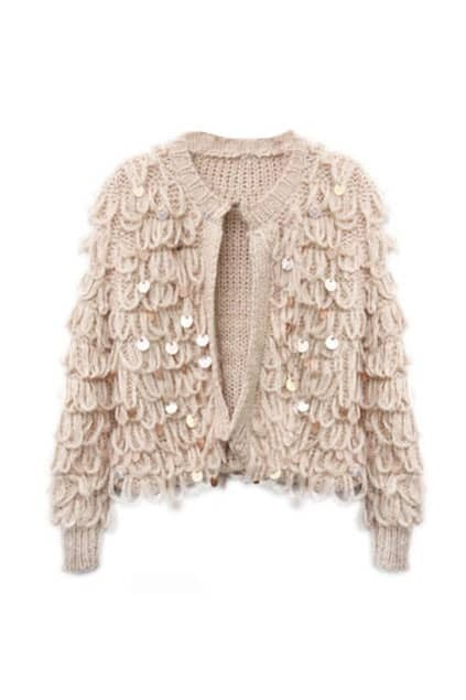 Mohair Paillette Short Style Pink Cardigan