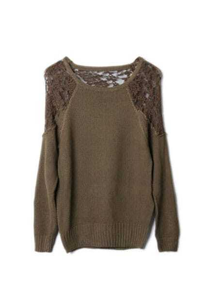 Montage Lace Scoop Neck Khaki Jumper