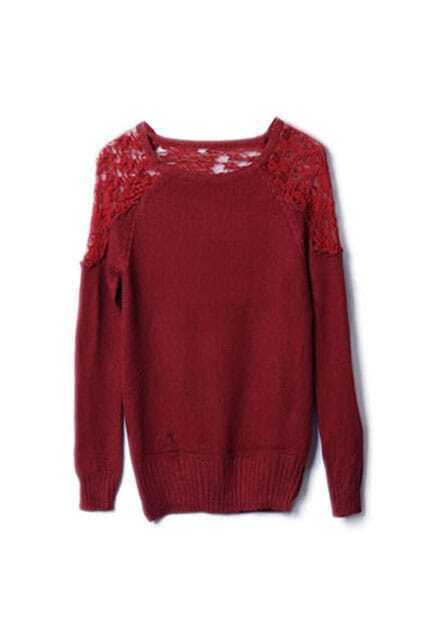 Montage Lace Scoop Neck Red Jumper