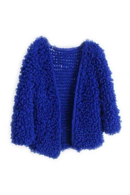 Fluffy Blue Short Cardigan