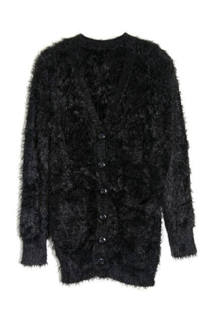 Fluffy Longline Black Cardigan