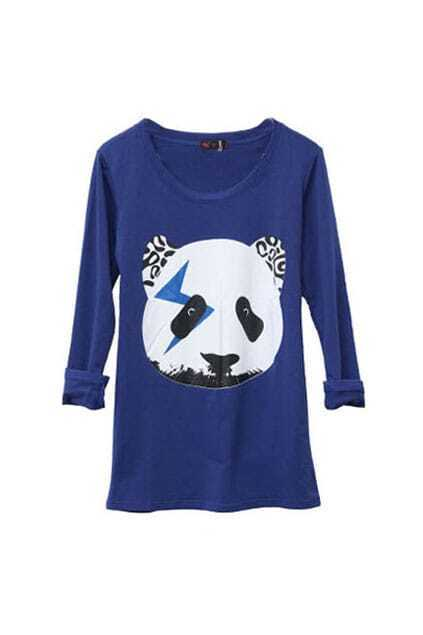 Panda Head Blue Bottoming T-shirt