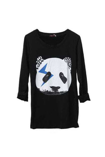 Panda Head Black Bottoming T-shirt