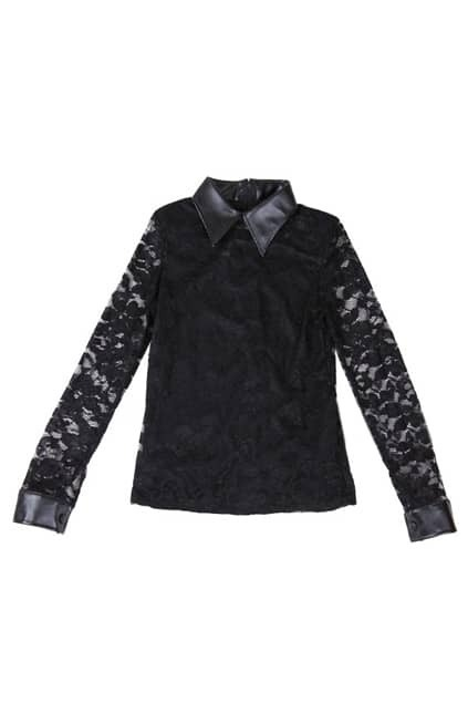 Splicing Lace Black Top