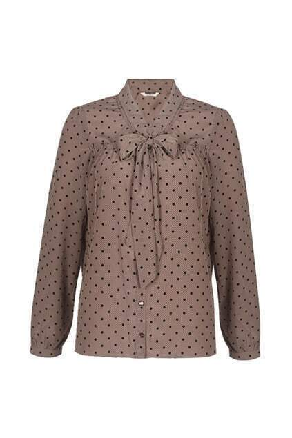 Polka-dots Printed Fitted Bowknot Cameo Blouse