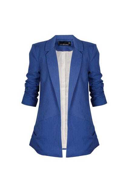 No Button Soft Lining Blue Blazer