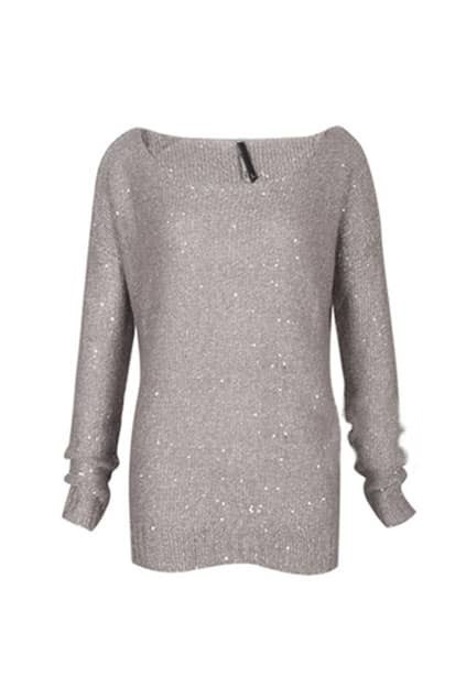 Retro Fitted Paillettes Grey Jumpers