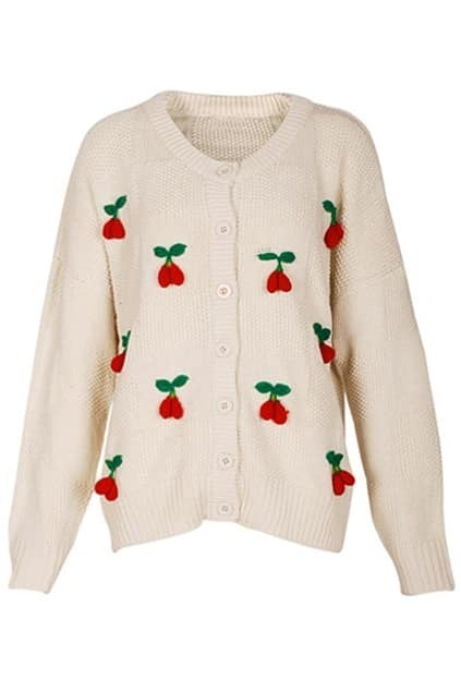 Stereo Cherry Loose Style Cream Jumper