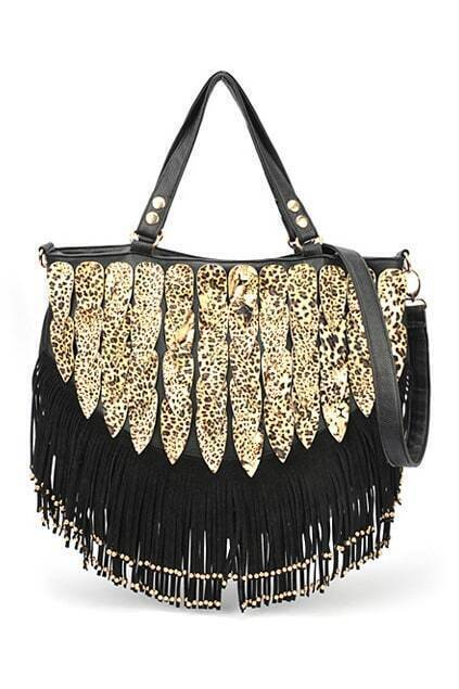 Leopard Print Tassel Black Bag