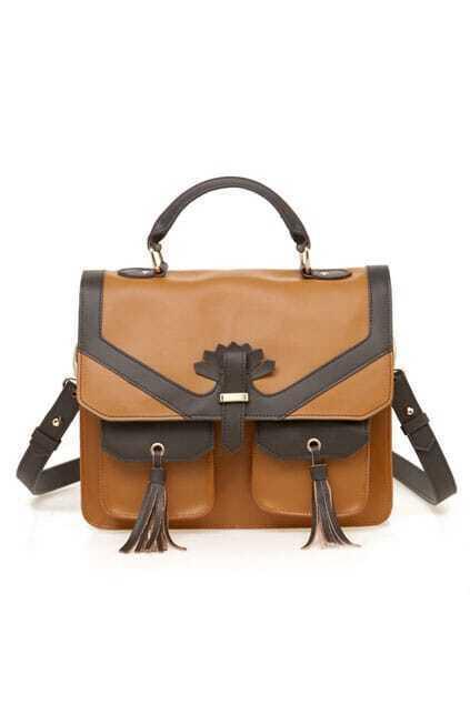 Contrast Color Brown Briefcase Bag