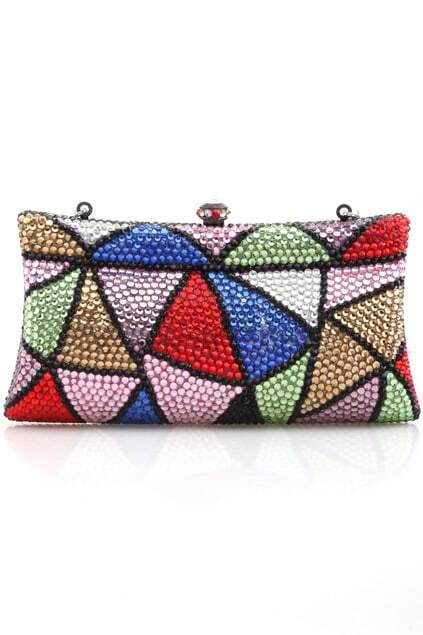 All-over Colorful Crystal Delicate Clutch