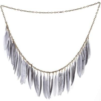 Retro Grey Feather Necklace