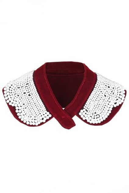 Beaded Bordeaux Detachable Collar