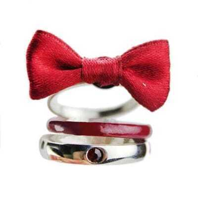 Red Bowknot Layered Ring
