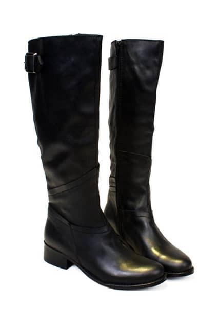 Black Flat High Boots