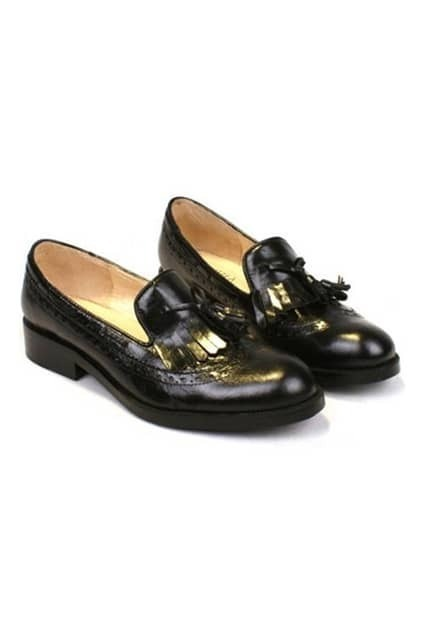 Retro Style Black Flat Shoes