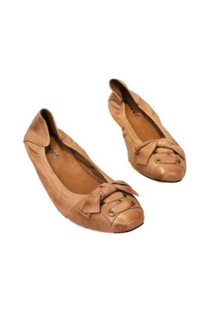 Bowknot Front Nude Flat Shoes