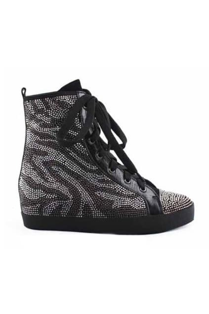 Platform Style Black Wedge-soled Shoes