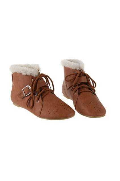 Fur Cuffs Brown Short Boots