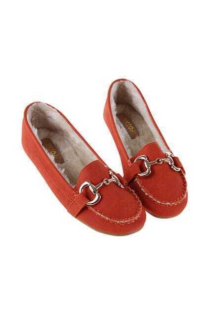 Fur Lining Orange Flat Shoes