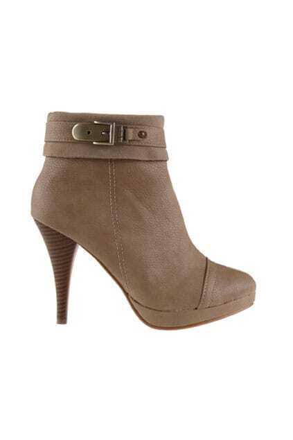 Platform Heeled Apricot Ankle Boots