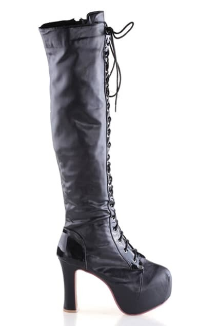 Platform Front Black Heeled Boots