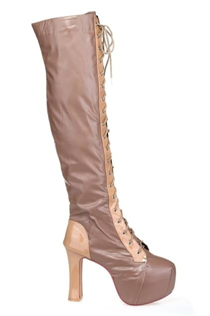 Platform Front Nude Heeled Boots