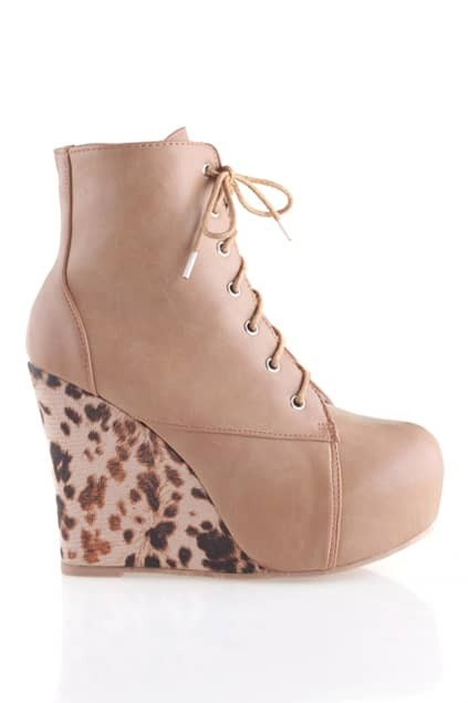 Leopard Wedge Heel Brown Ankle Boots