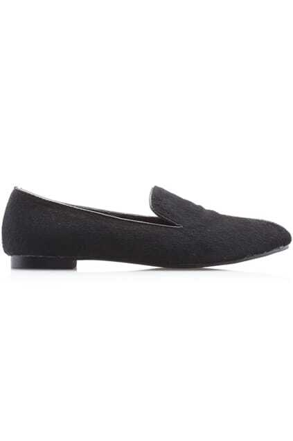 Horsehair Black Flat Shoes