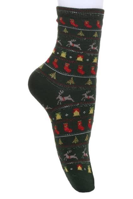 Christmas Patterning Green Socks