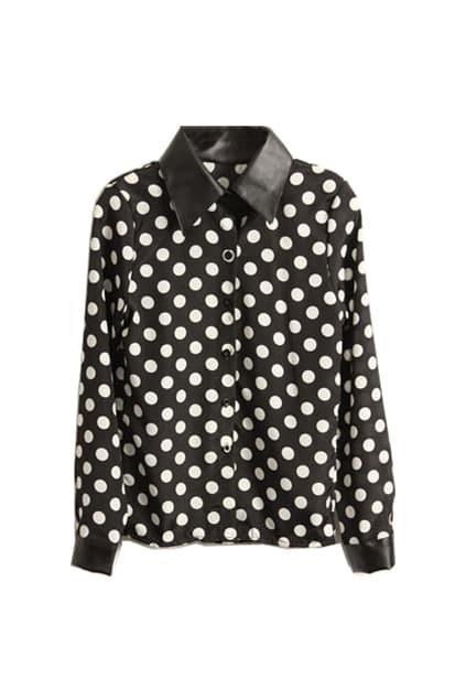 Splicing PU Dots Print Black Shirt