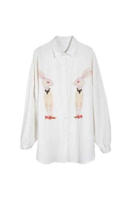 Retro Oversized Rabbits White Shirt