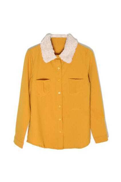 Faux Fur Collar Khaki Shirt