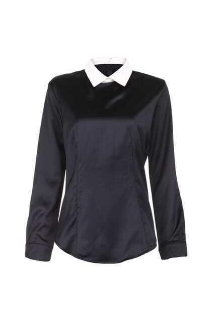 Buttoned Back Satin Black Shirt