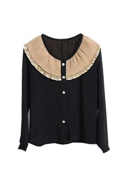 Contrast Pleated Collar Black Shirt