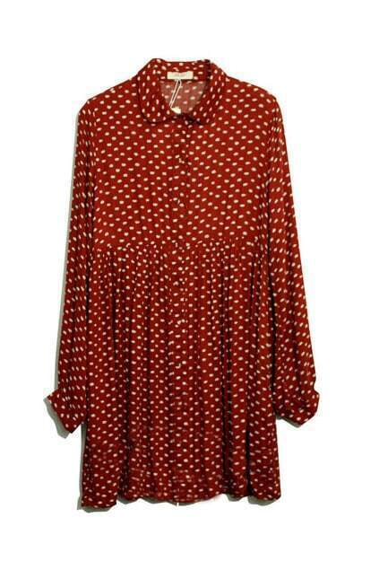 Retro Dots Print Pleated Shift Dress