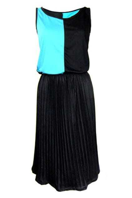 Color Contrast Pleated Shift Dress
