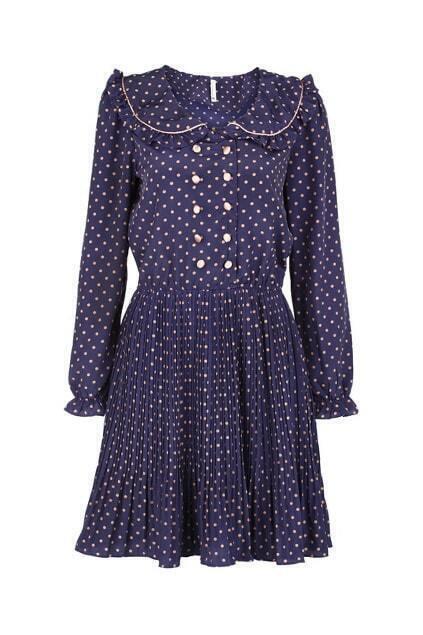 Peter Pan Collar Dots Blue Dress