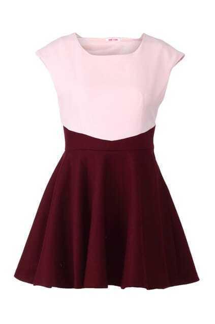 Chiffon Montage Red Flare Shift Dress