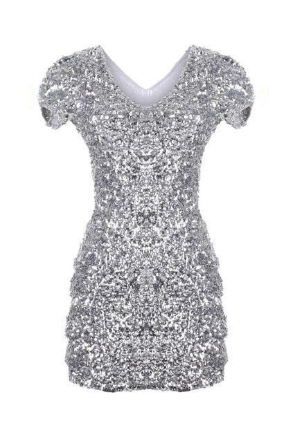 Sequin Silvery Shift Dress