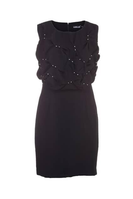 Diamond Embellished Black Shift Dress