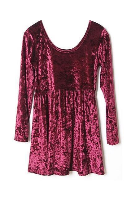 High Waist Fluffy Wine-red Dress