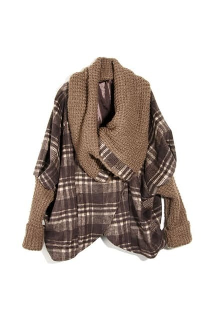 Check Batwing Sleeves Coffee Coat