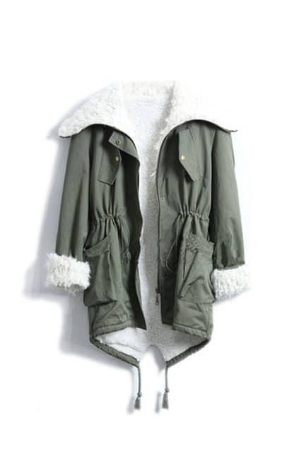 Big Lapel Wool Lining Army-green Outerwear