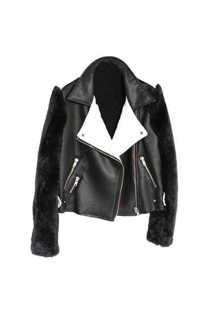 Splicing Faux Fur PU Black Jacket