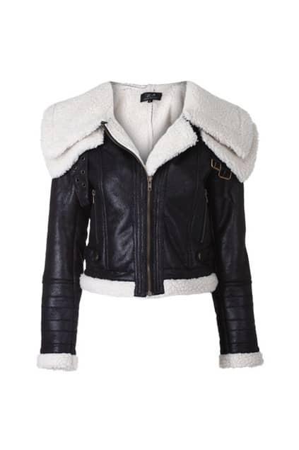 Wide Faux Fur Collar Black Coat