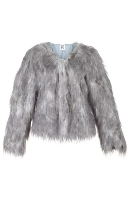 Hairy Grey Faux Fur Coat