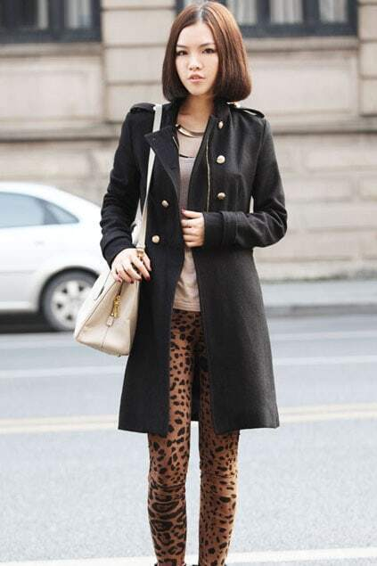 Double Breasted Slim-cut Black Coat
