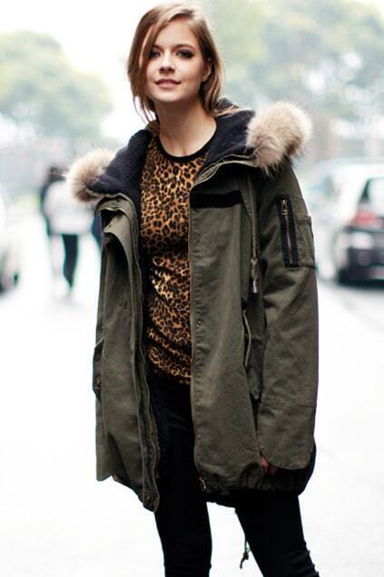 Separated Lining Hooded Army Green Coat