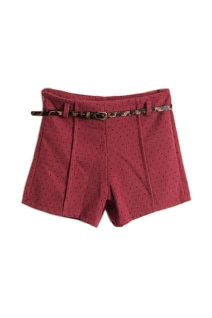 Retro Dots Dark Red Belted Shorts
